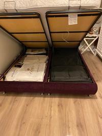 Doğtaş mobilya - kadife - parlak mürdüm rengi-yatak başı ve bazası takım  resmi