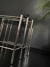 Vintage faux bamboo 3'lu sehpa resmi