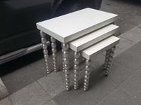 Beyaz lake zigon gümüş varak ayaklı resmi
