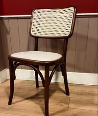 Koyu ceviz hazeranlı retro pine sandalye
