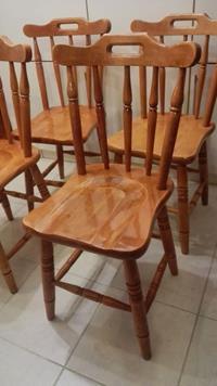 Antika ingiliz 4 lü cilalı torna şirin thonet sandalyeler resmi