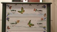 Antika kelebekli leaf green tasarım aynalı dresuar / şifonyer  resmi