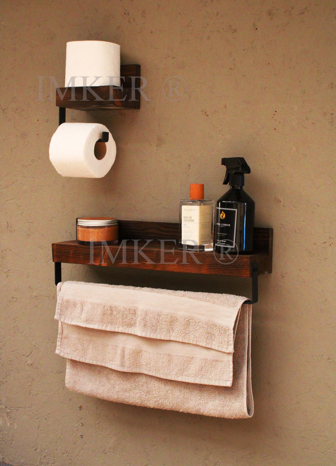 Imker ahşap wc kağıtlık tuvalet kağıtlığı tuvalet kağıdı askısı kağıt havluluk 2li banyo organizer 5334470 resmi