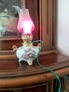 Vintage Japon Damgalı Çalışır Mini Porselen Gece Lambası resmi