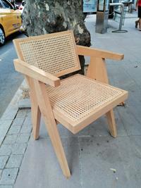 Pierre jeanneret tasarımı hazeranlı naturel sandalye