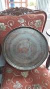 Eskilerden dekoratif büyük bakır tepsi