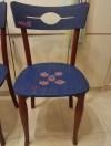 Country Kırmızı-lacivert Marangoz işi 2'li Thonet Sandalyeler resmi