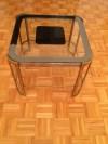 Art Deco Pirinç Ayna Camlı Yan Sehpa resmi