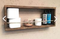 Imker dekoratif tasarım halatlı masif ahşap duvar rafı çok amaçlı banyo dolabı 5334395 resmi