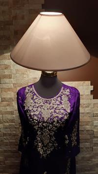 Otantik 40+ senelik el yapımı ağır tel kırma işlemeli mor saf ipek giysili kadın lambader resmi