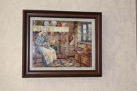 El işlemeli köy mutfağındaki anneanne tablo resmi