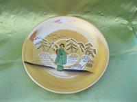 Vintage japon el boyaması dekoratif tabak resmi