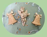 Abd den alınmış retro altın varaklı melek ve 2 çan set resmi