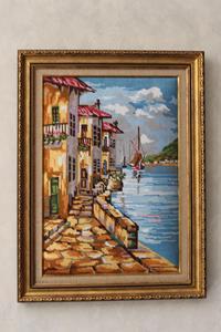 """Goblen el işlemeli """"denize bakış"""" tablo resmi"""