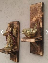 Imker rustik eskitme ahşap duvar mumluk dekoratif raf 2 li 5334380 resmi