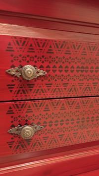 Antika kırmızı masif indian tasarım ağaç mini konsol resmi