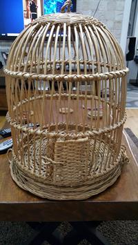 Hasır el yapımı kuş kafesi resmi