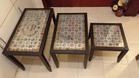 Antika aynalı tasarım iç ice yada ayrı kullanilabilen 3 boy sehpa resmi