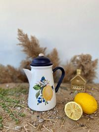 Seramik kapaklı sürahi- limonlu lacivert resmi