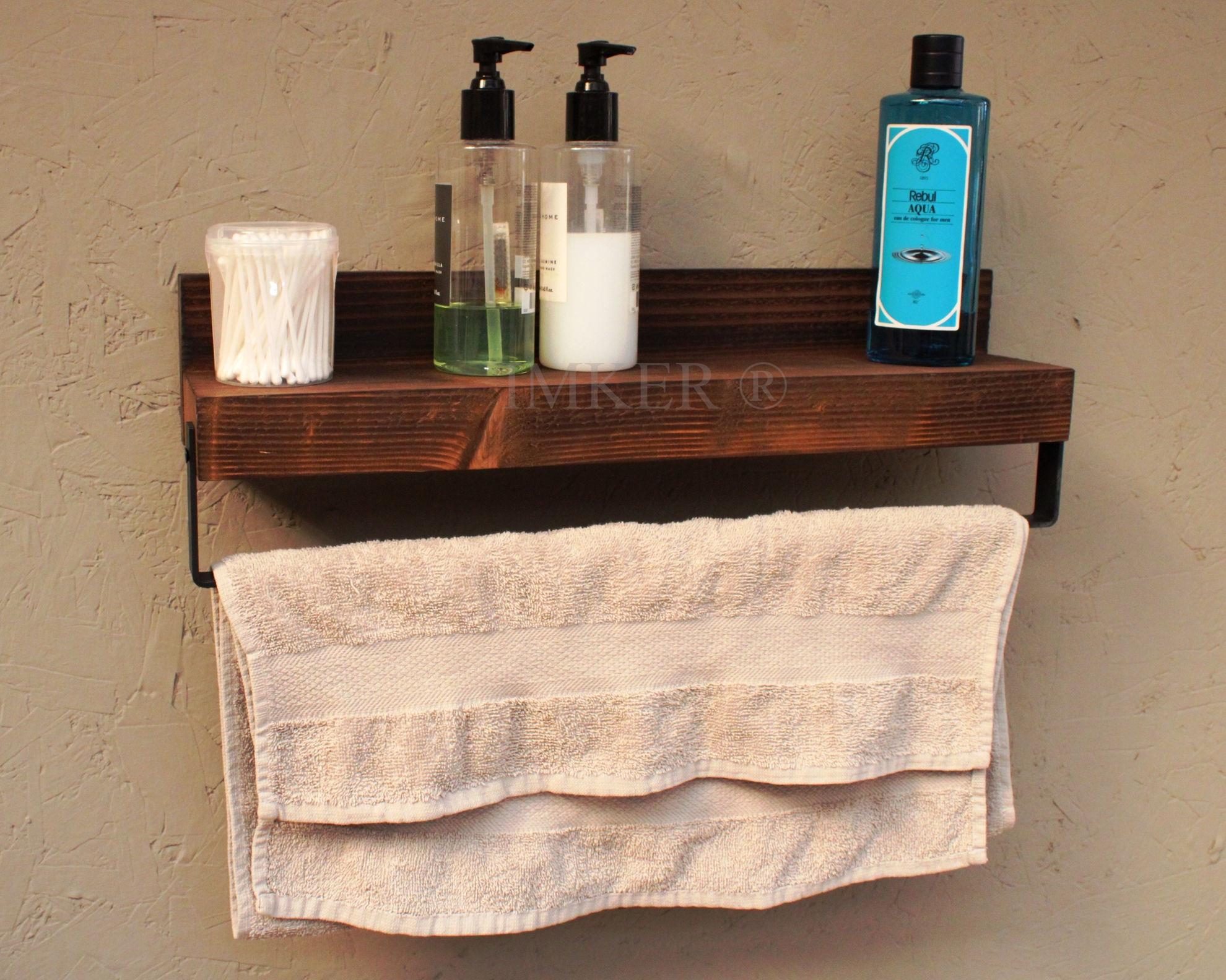 Imker metal havlu askısı masif ahşap banyo duvar rafı çok amaçlı düzenleyici organizer terek 5334431 resmi