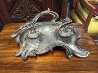 Fransız art nouveau tutya hokka yazı takımı ikili depose damgalı kristal camlı hokka resmi