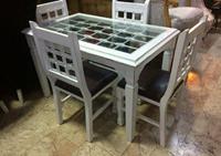 Ladin ağacı eskitme masa sandalye takımı  resmi