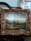 Ahşap altın varaklı çerçeveli imzalı tablo
