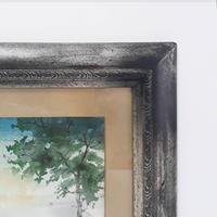 Paspartulu çerçevesinde ünlü ressam ilker çökmüş imzalı sulu boya tablo resmi