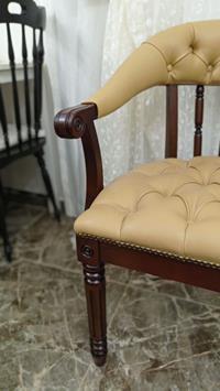 Hollanda dan cilalı özel tasarım kolçaklı deri kusursuz thonet koltuk  resmi