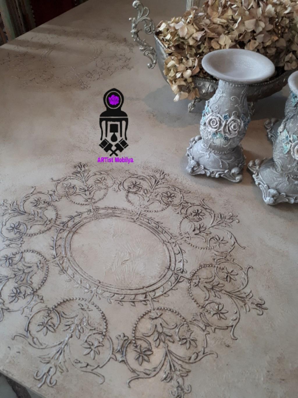 çok Renkli Diğer Ceviz El Boyama Vintage Masa Yeni Gibi Yemek