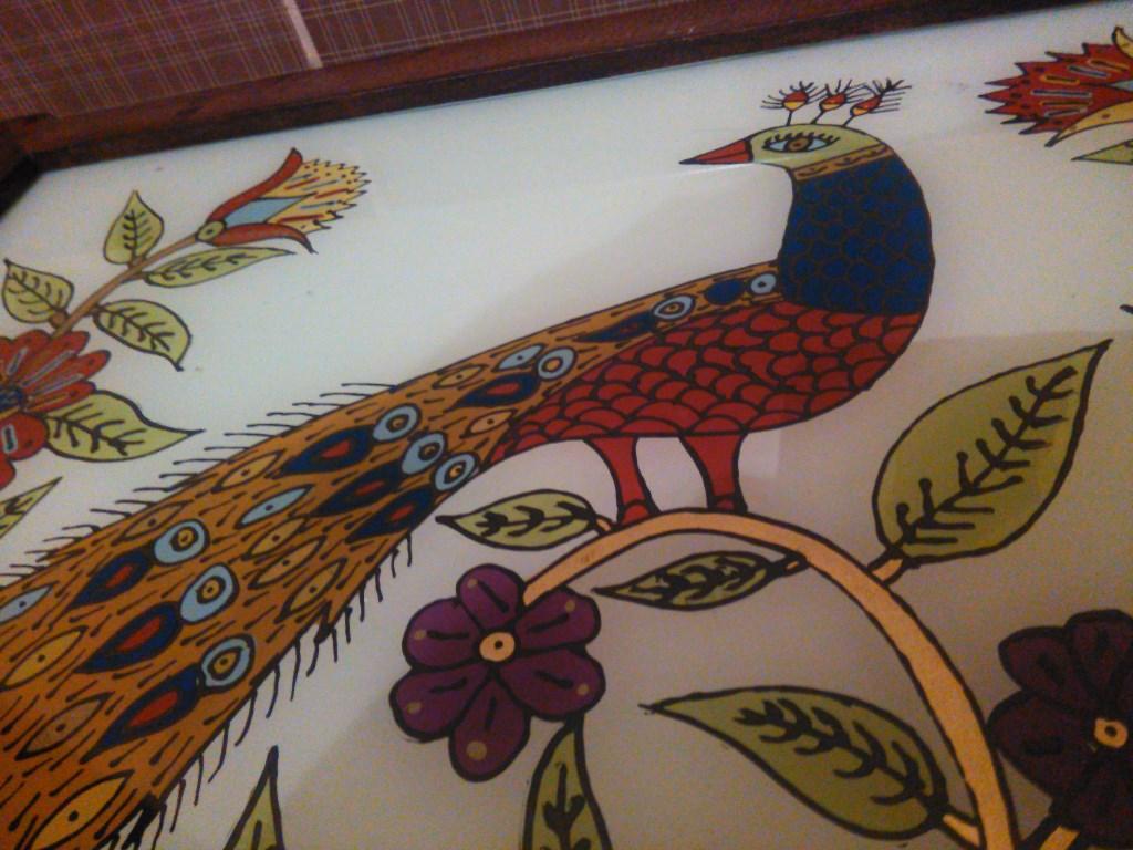 çok Renkli özel Yapım Tavuskuşu Desenli Cam Altı El Boyama Tablo