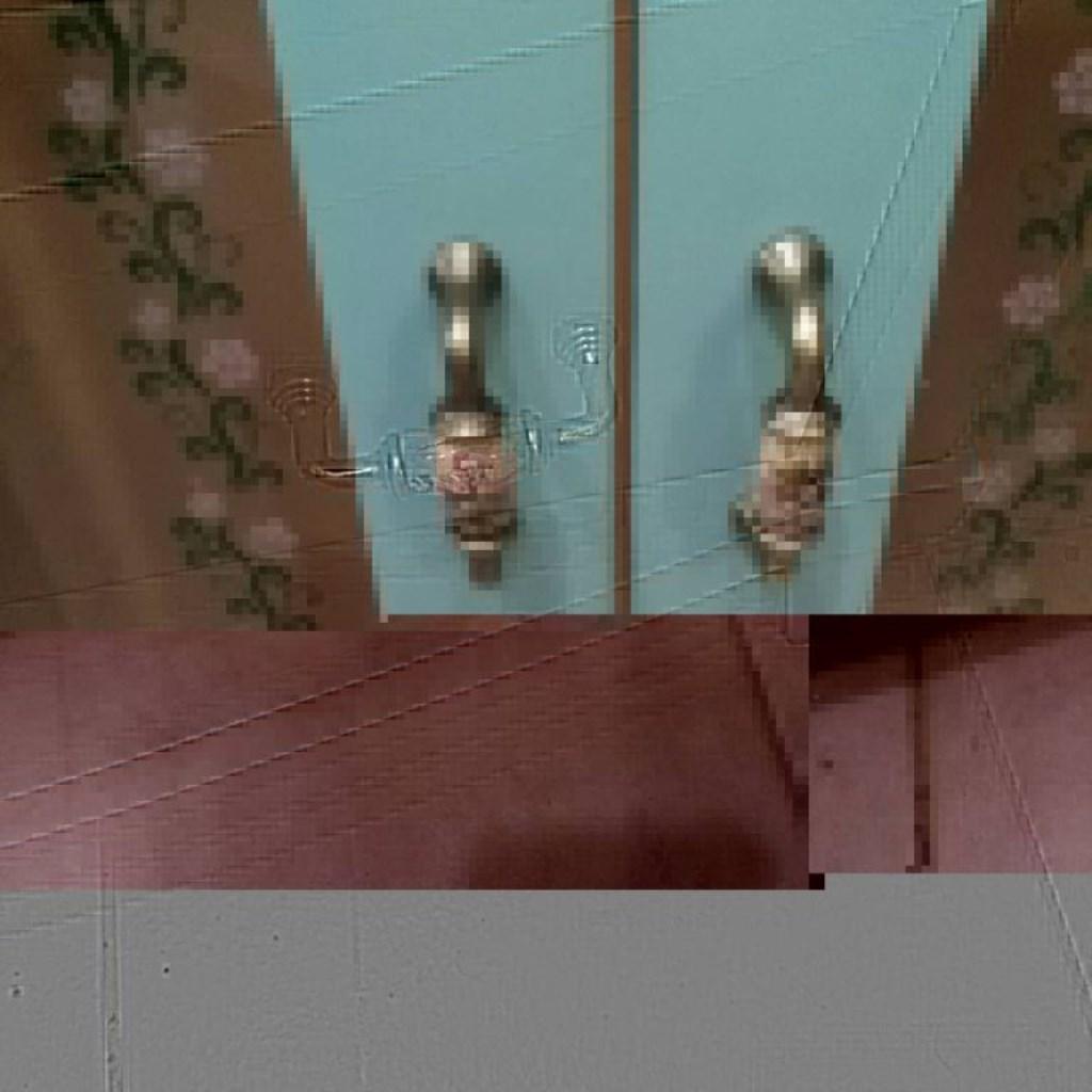 Aqua Chalk Eskitme Camları Çiçekli Zarif Dolap resmi