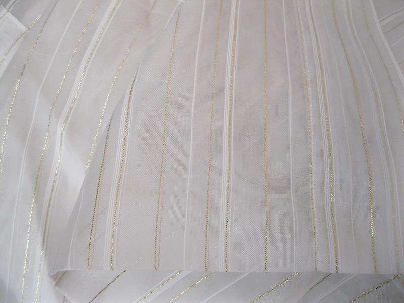 Tek kanat ince dore çizgili uzun tül perde resmi
