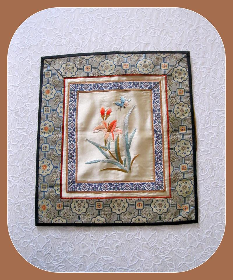 Vintage saf ipek kelebek-çiçek pano resmi