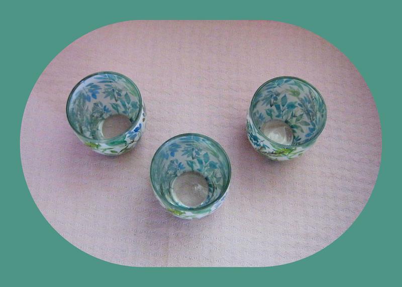 Alman malı, cam, üçlü tealight mumluk seti yepyeni resmi