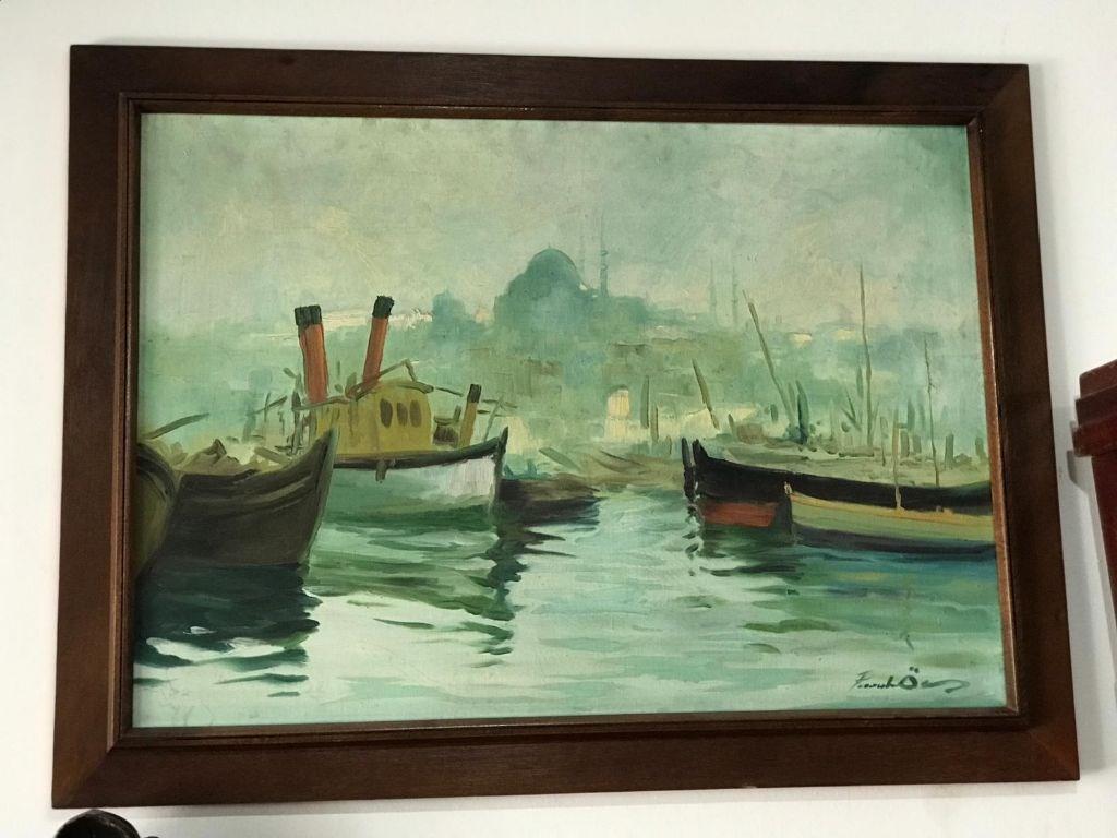 Yağlı Boya Deniz Ve Gemi Temalı Imzalı Tablo