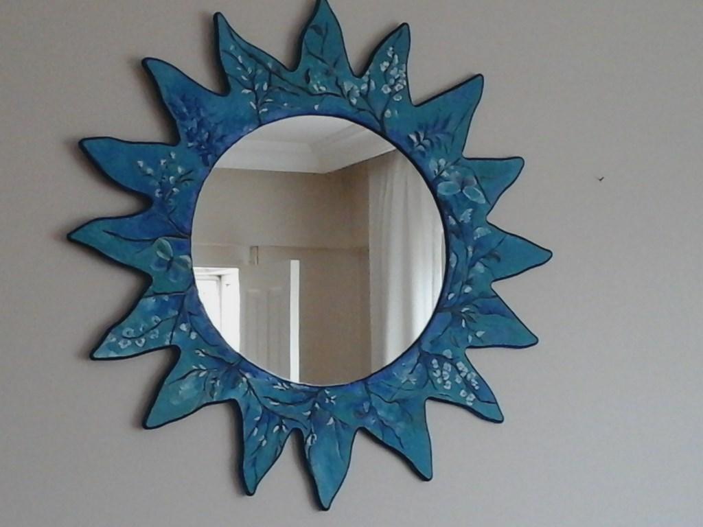 çok Renkli Yok Dekoratif El Boyama Ahşap Ayna Yeni Gibi Ayna