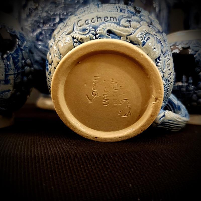 Orijinal alman tuzlu sırlama seramik şarap kasesi ve kupa takımı... resmi