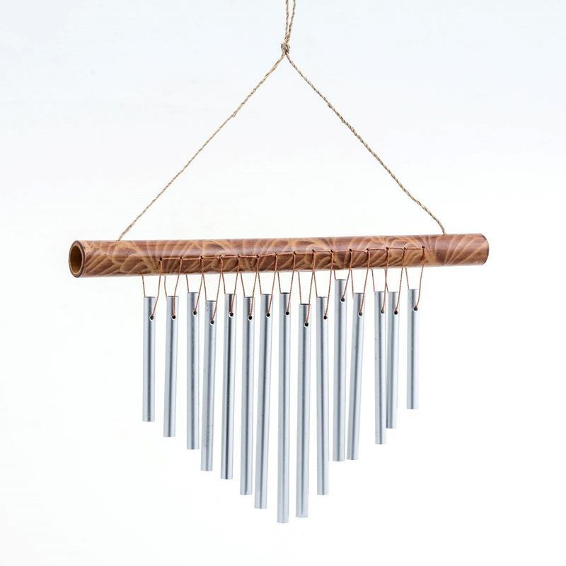 Doğal bambu üst kaideli paslanmaz borulu asma aparatlı rüzgar çanı 40cm (r115) resmi