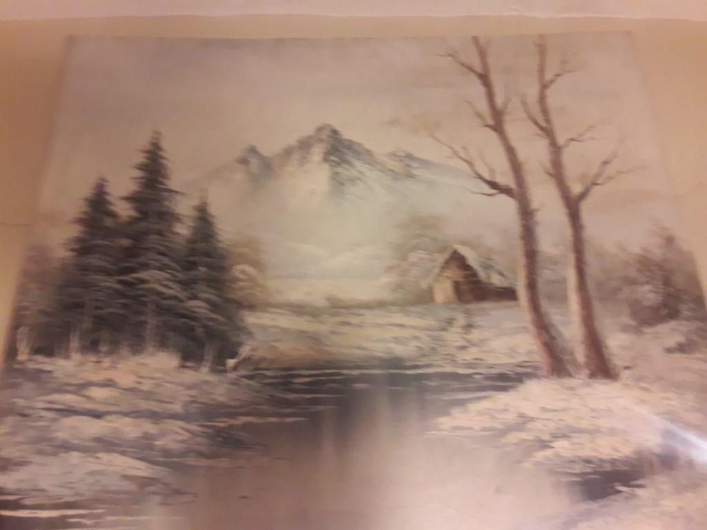 çok Renkli Diğer Dağ Evi Temalı Yağlı Boya Tablo Kullanılmış Tablo