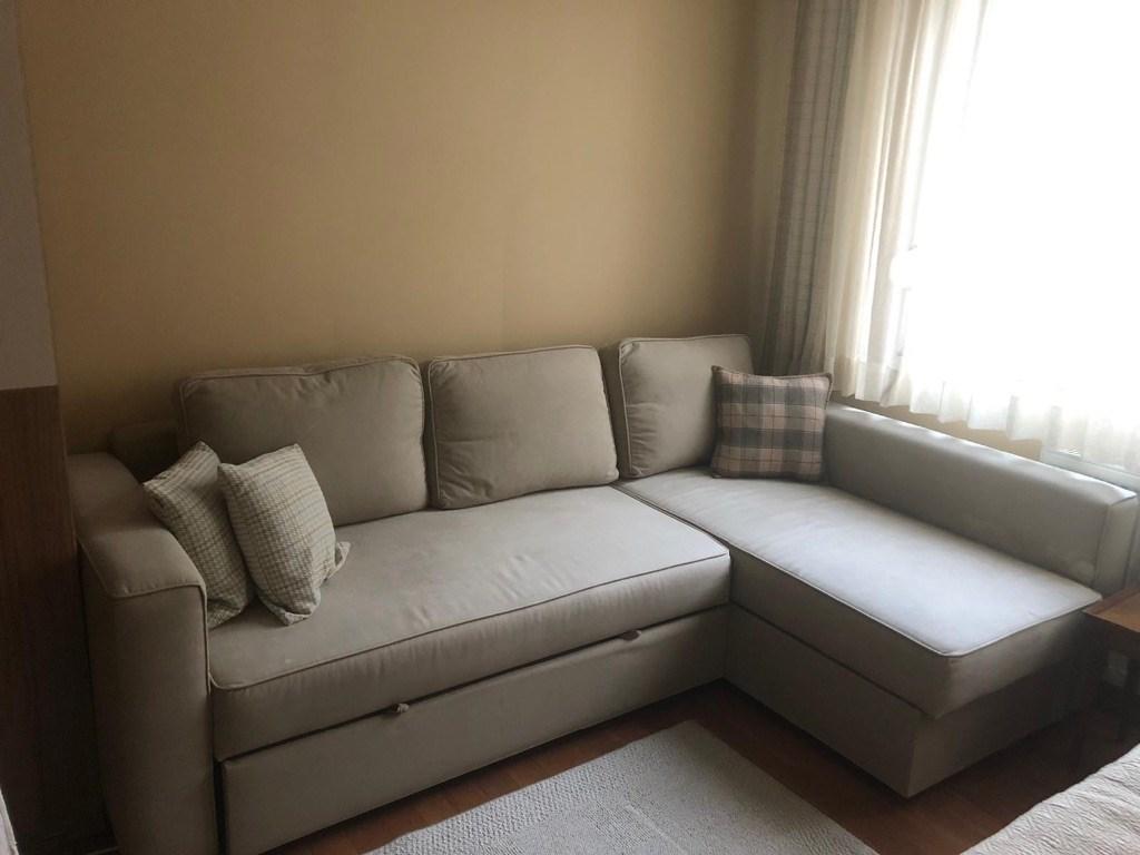 Bej Ikea FRIHETEN bazalı yataklı köşe kanepe Modelleri ve ...