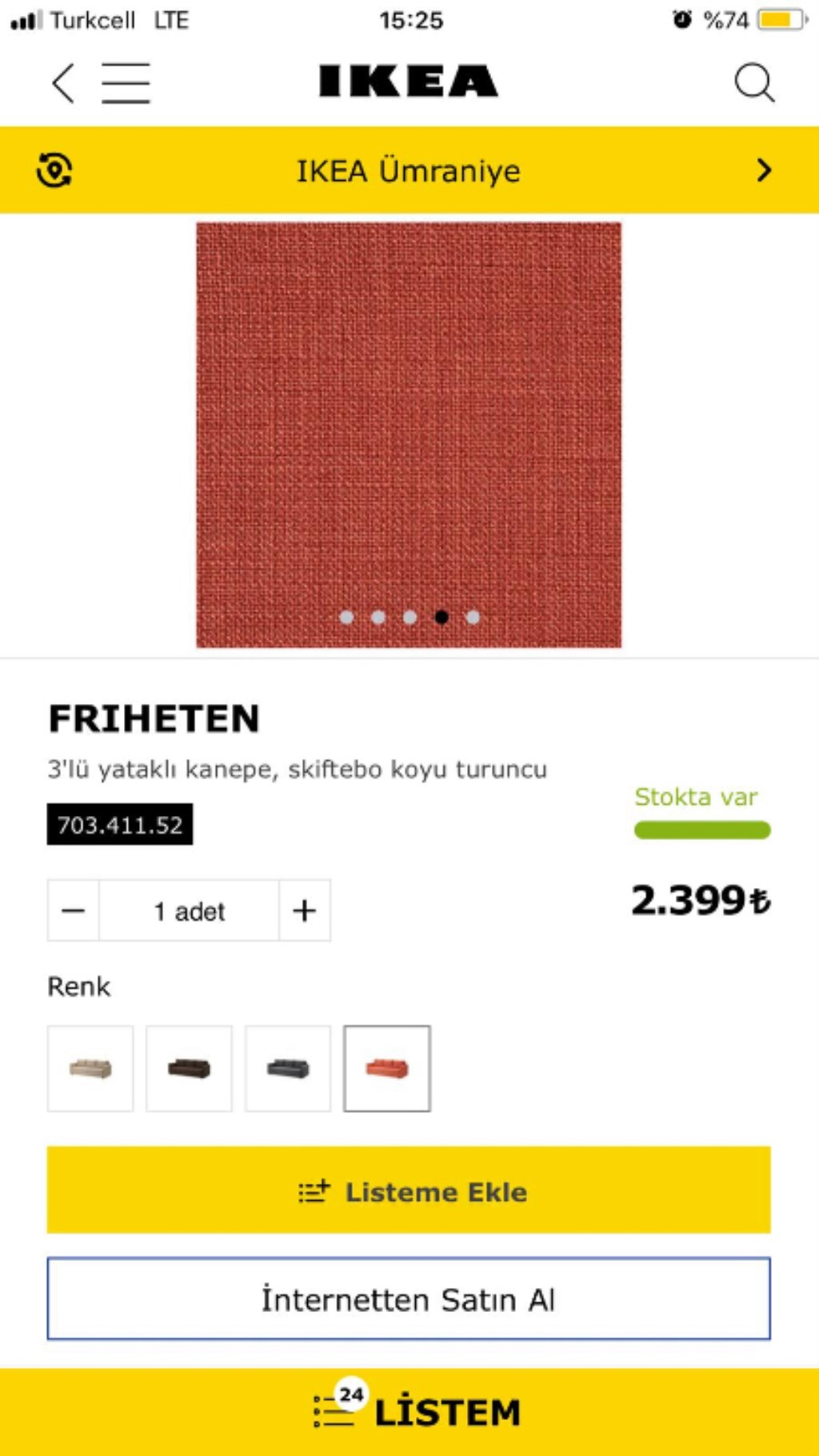Turuncu Ikea 3'lü yataklı kanepe Modelleri ve Fiyatı ...