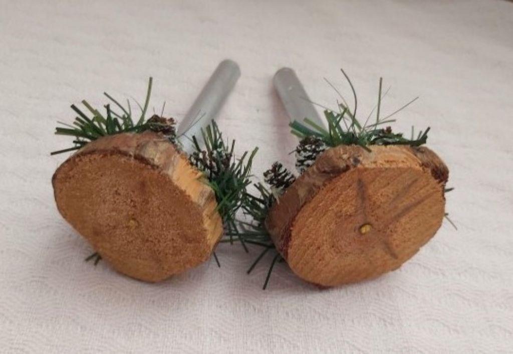 Vintage Doğal Ağaç ve Doğal Mini Kozalaklardan Çift Mumluk resmi