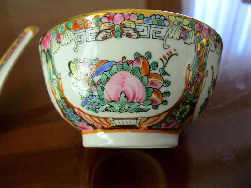 Vintage el boyama çin çift dekoratif çanaklar resmi