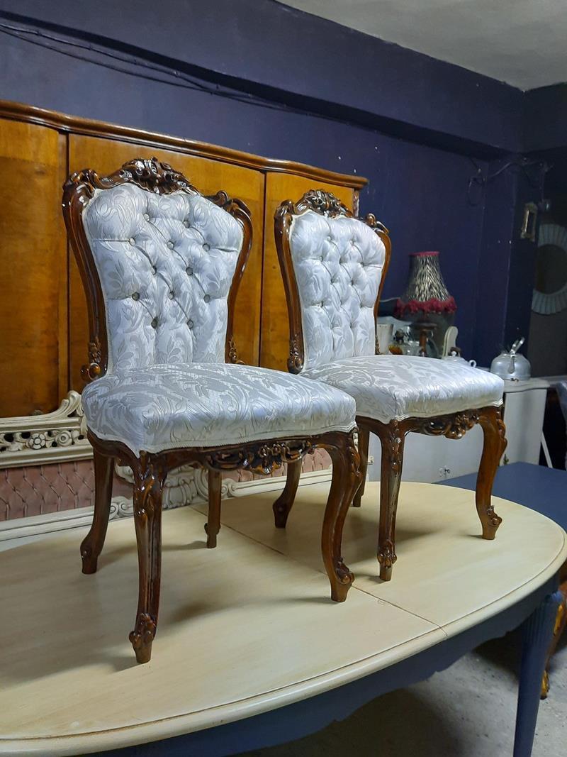 Oymali şık 2 adet sandalye  resmi