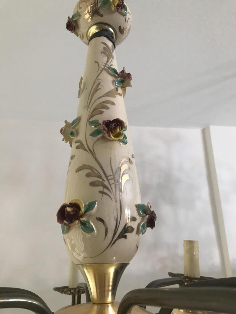 Capodimonte porselen-pirinç 6 kollu avize resmi