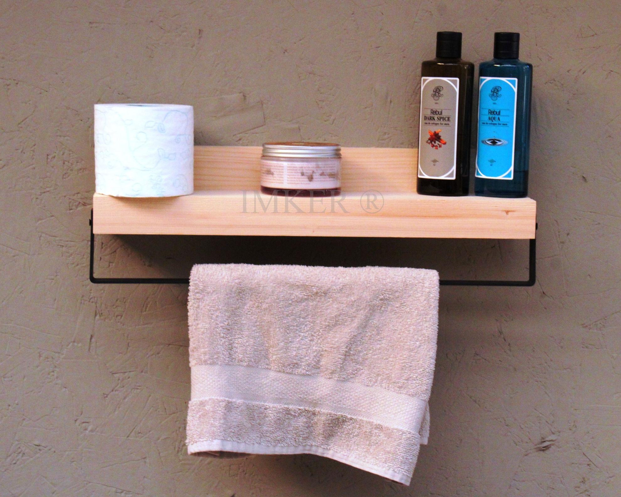 Imker metal havlu askısı masif ahşap banyo duvar rafı çok amaçlı düzenleyici organizer terek 5334432 resmi