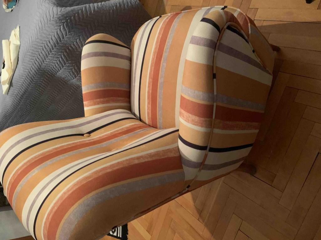 Retro çizgili tekli koltuk / berjer resmi