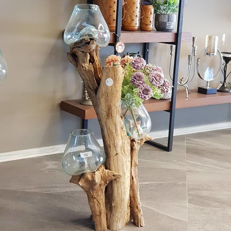 Teak ağacı cam fanus resmi