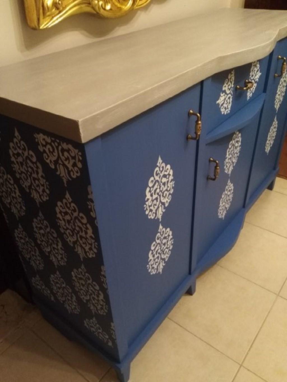 Eskilerden Retro Kabartma Motifli Maviş Masif Konsol resmi